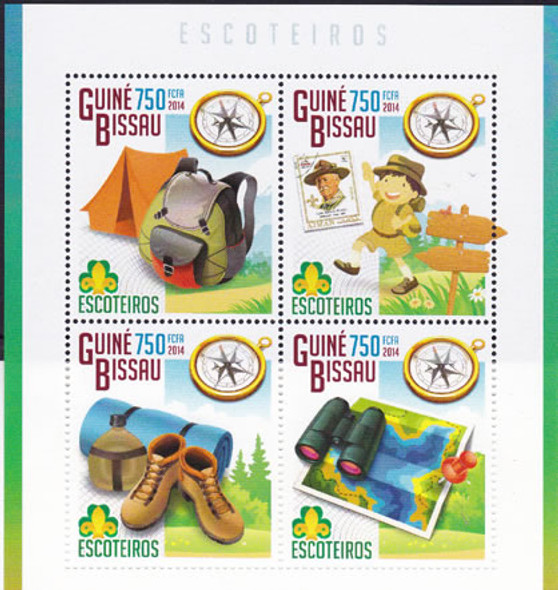 GUINEA BISSAU: Scout 2014- Sheet of 4- camping and hiking gear