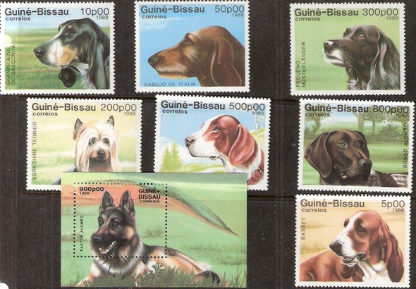 GUINEA-BISSAU (1988)- DOGS- 7 VALUES & SHEET
