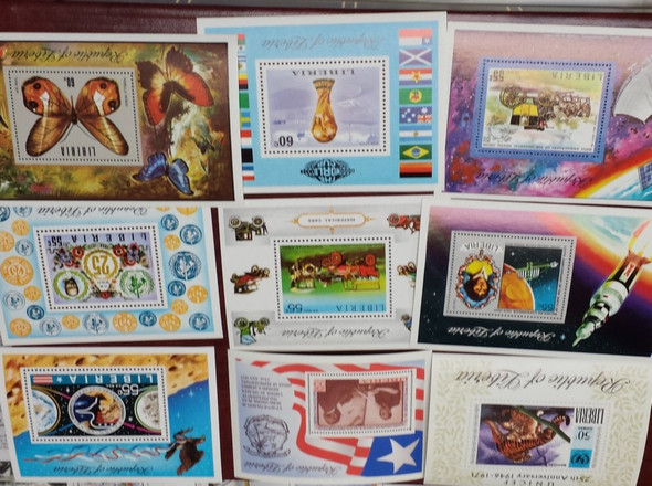 Liberia: LIBERIA SOUVENIR SHEET COLLECTION- 50 different 1970-1990