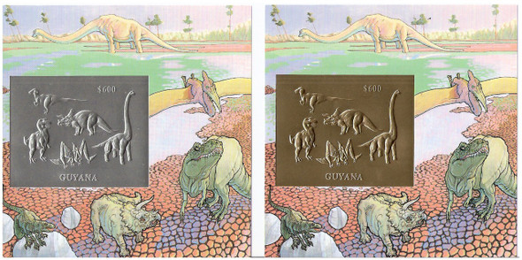 GUYANA (1993)- GOLD/SILVER FOIL DELUXE SHEETS-DINOSAURS