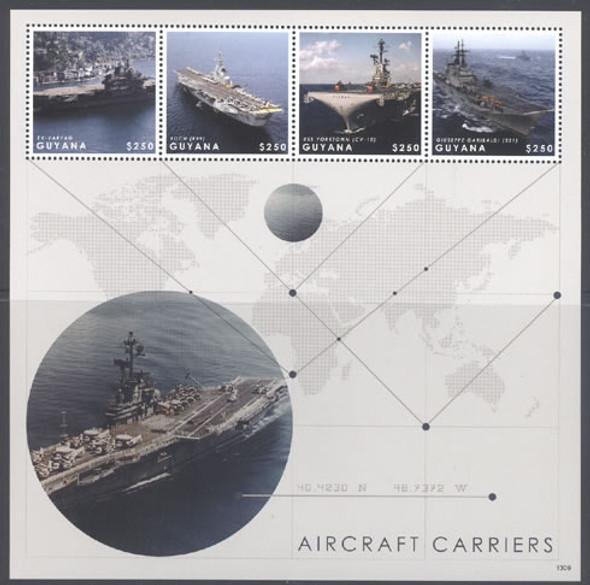 GUYANA (2013)- Aircraft Carriers- Sheet of 4- Exvaryag- Foch- USS Yorktown