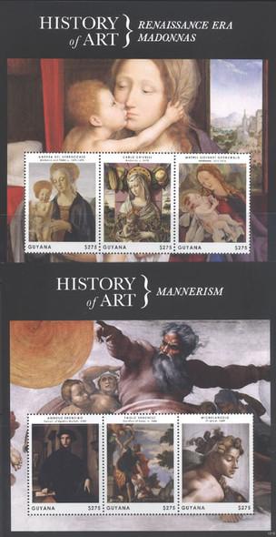 GUYANA (2013)- Art History- Sheets of 3- Madonnas- Sacrifice of Isaac etc (2)