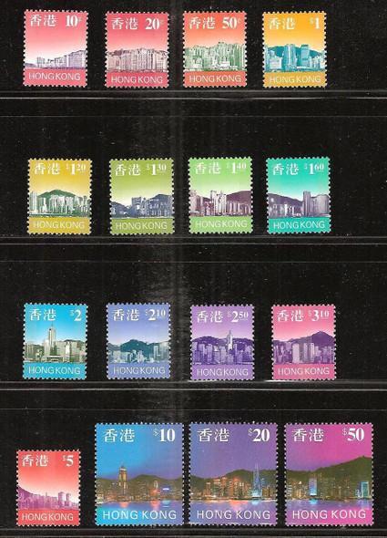 HONG KONG- Skyline Definitives 1997- 16 Values