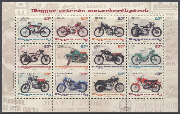 HUNGARY (2015) : Old Motorcycles- Sheet of 12