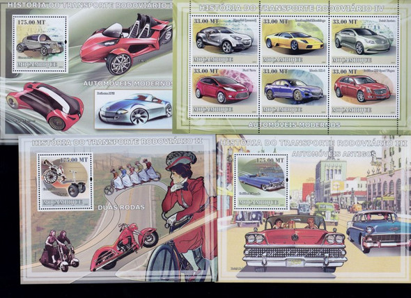 Mozambique: MOZAMBIQUE Transportation AUTOMOBILES TRUCKS Sheet Lot of 9 Our Original Retail $84.21