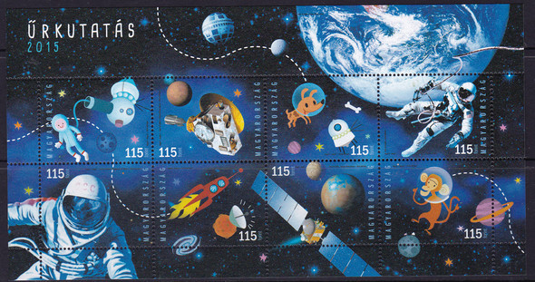 HUNGARY: Space Exploration 2015- Sheet of 8- cartoon dog- maonkey- satellite etc