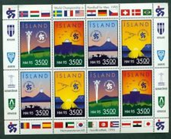 ICELAND (1995) HANDBALL World Championship  Flags FULL SHEET
