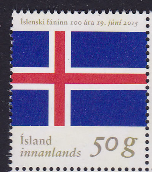 ICELAND (2015): Flag 100th Anniversary- souvenir sheet - gold foil lettering