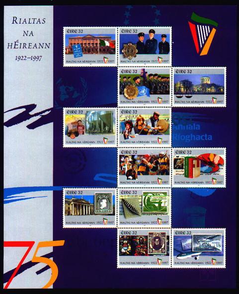 IRELAND (1997)- 75TH ANNIVERSARY SHEET OF 12 VALUES