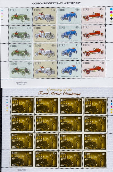 IRELAND (2003) 2 Full Sheets Automobile Related SCV$52