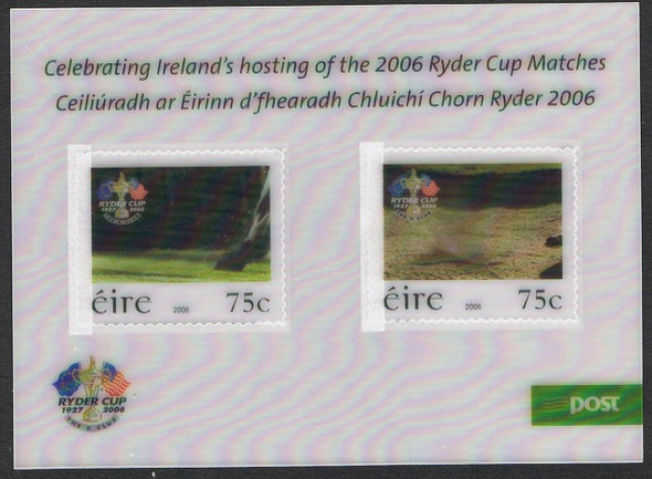 Ireland (2006) Rider Cup Golf Tournament  souvenir sheet- 3D Action