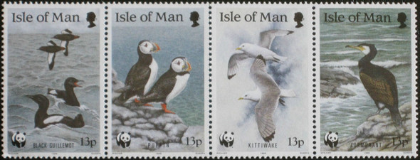 ISLE OF MAN (1989)- WWF PUFFINS,KITTIWAKE, ETC. (4v)
