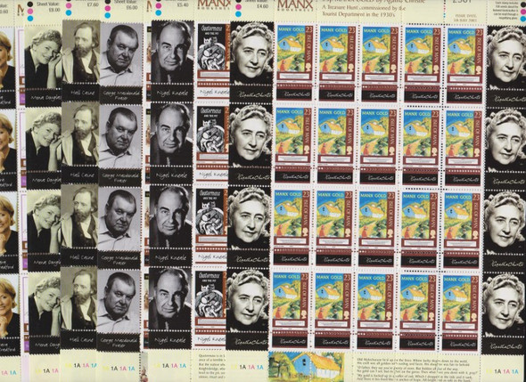 ISLE OF MAN (2003) LITERARY WORLD Agatha Christie Nigel Kneale + Full Sheets (6v)