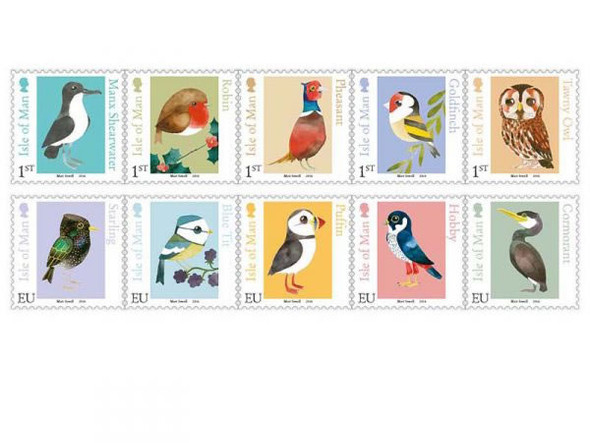 ISLE OF MAN (2016): Birds- Matt Sewell Illustrations- owl- puffin- pheasant ,etc (10)