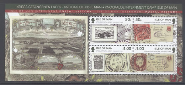 ISLE OF MAN- Knockaloe Internment Camp Postal History- souvenir sheet- stamp on stamp