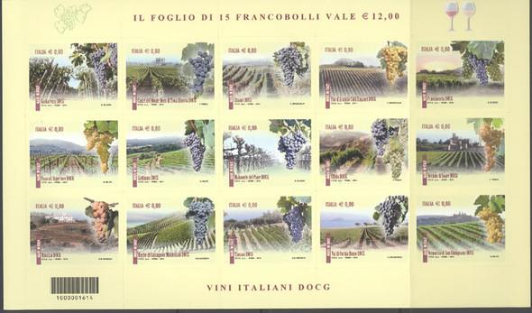 ITALY( 2014) : Wines III- self-adhesive- Sheet of 15- vineyards- grapes
