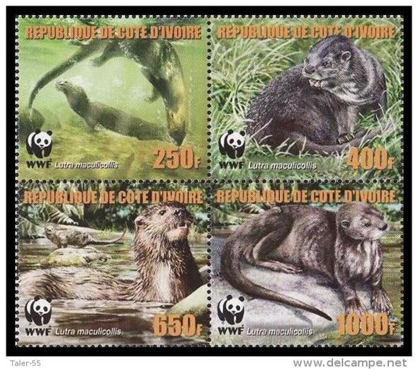 IVORY COAST (2005)- WWF Otters (4 values)