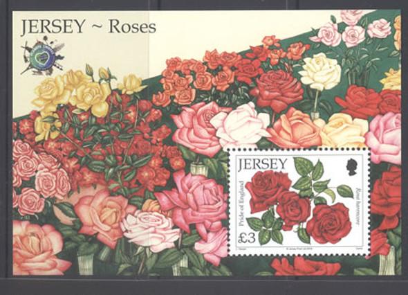 JERSEY- Roses Exhibit Overprint- souvenir sheet