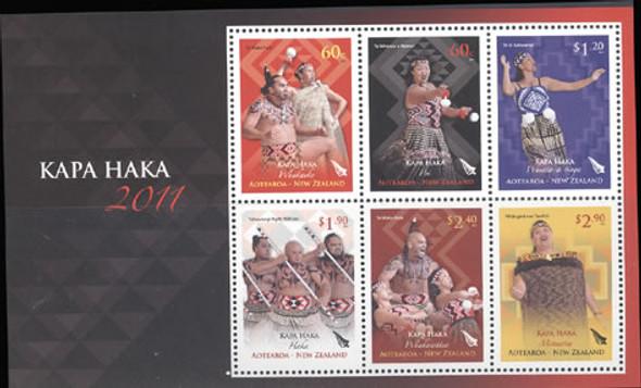 Kapa Haka Festival 2011- souvenir sheet- Sheet of 6- costumes- tatoos