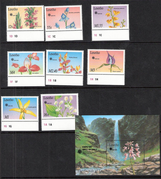 LESOTHO (1990): Orchids set of 8 and sheet for Osaka Expo '90
