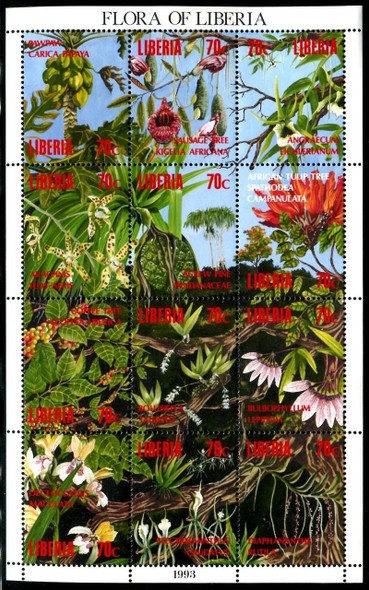 LIBERIA (1993)- Flora of Liberia (Orchids- Tulips) Sheet of 12v