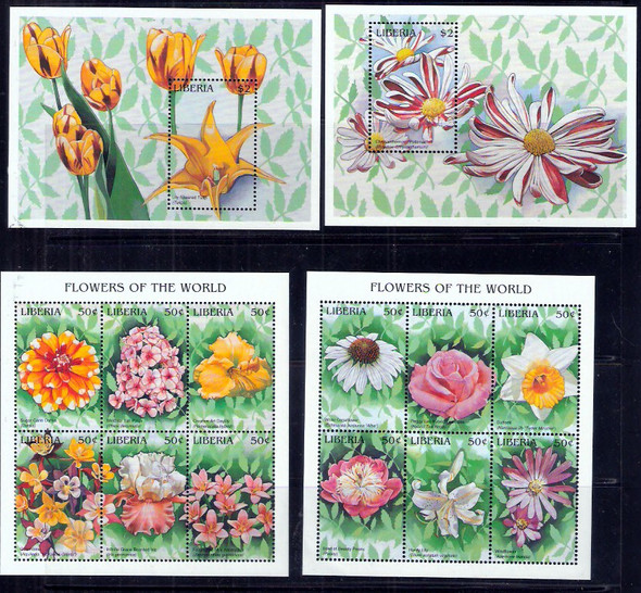 LIBERIA (1997)- Flowers of the World-2 sheets of 6v & 2 s.s.