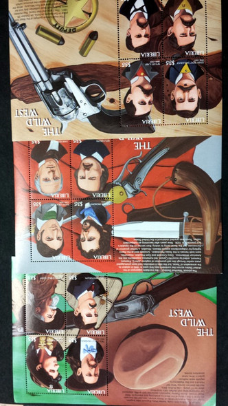 LIBERIA (1999)- LEGENDS OF THE WILD WEST- 3 SHEETS (12v)