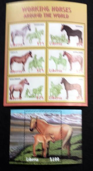 LIBERIA (1999)-WORKING HORSES - SHEET OF 6 AND SOUVENIR SHEET
