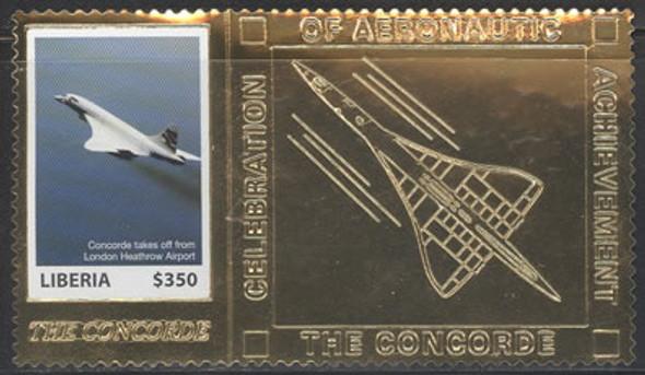 LIBERIA (2007)  - Concorde Flight Anniversary (Gold Foil Stamp)