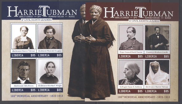 LIBERIA (2013) - Harriet Tubman Civil Rights- Sheets of 4 (2)-  F Douglass- J Brown- A Lincoln etc (2)