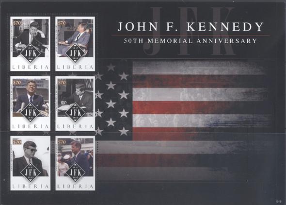 LIBERIA (2013) - JF Kennedy 50th Memorial Annv- Sheet of 6