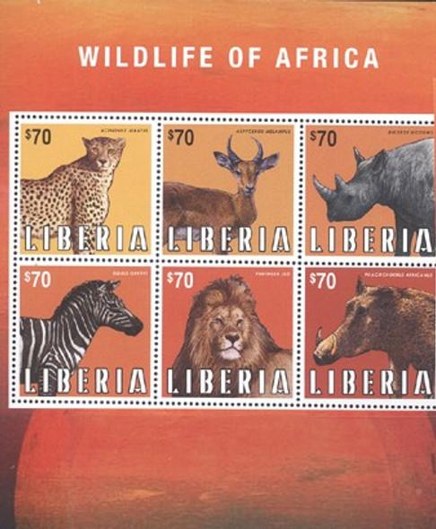 LIBERIA (2013) - Wildlife of Africa 2013- Sheet of 6- jaguar- lion- rhino- zebra etc