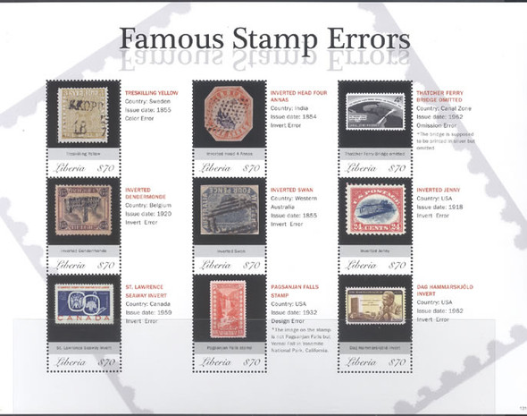 LIBERIA (2015): Famous Errors Stamps- Sheet of 9