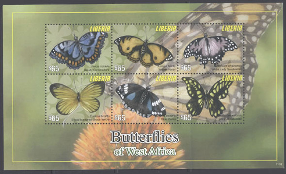 LIBERIA- Butterflies- Sheet of 6