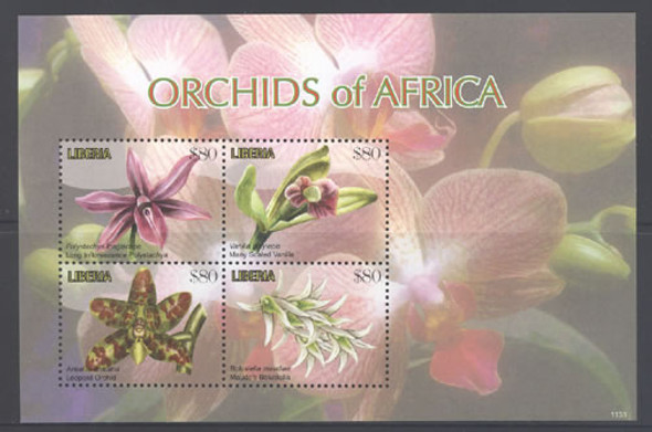 LIBERIA- Orchids- Sheet of 4