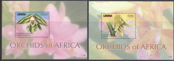 LIBERIA- Orchids- souvenir sheet (2)