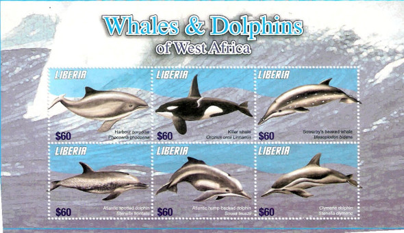 LIBERIA- Whales and Dolphins- Sheet of 6