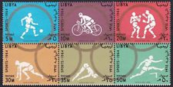 LIBYA (1964) Olympic Sports Block of 6