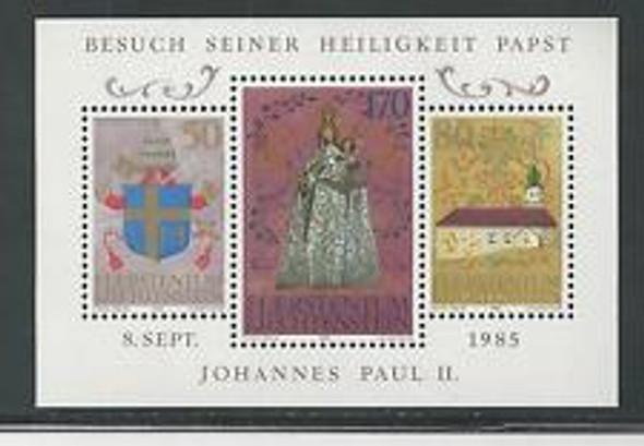 LIECHTENSTEIN (1985) State Visit Of Pope John Paul Sheet of 3