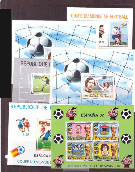 : WORLDWIDE SOCCER SOUVENIR SHEET COLLECTION- 11 DIFFERENT- SCV>$65!