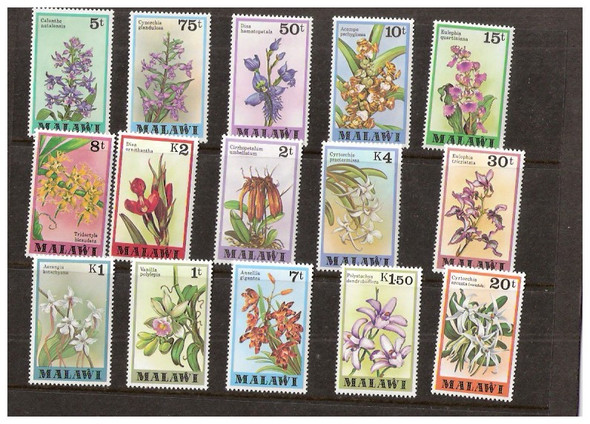 MALAWI (1979)- ORCHIDS- 15 VALUES