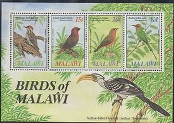 MALAWI- BIRD SHEET OF 4 VALUES FOR AUDUBON ANNIVERSARY