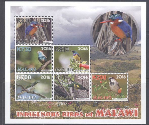 MALAWI- Indigenous Birds- Sheet of 6