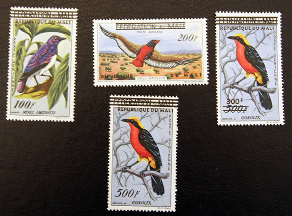 MALI (1960)- BIRDS- 4v WITH OVERPRINTS- SCV=$44.75!