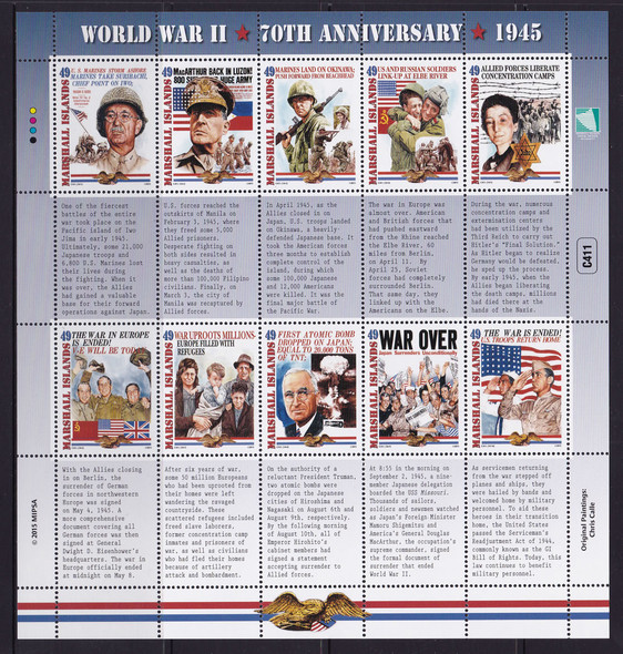 MARSHALL ISLANDS (2015):: WWII 70th Anniversary 1945 Events- Sheet of 10