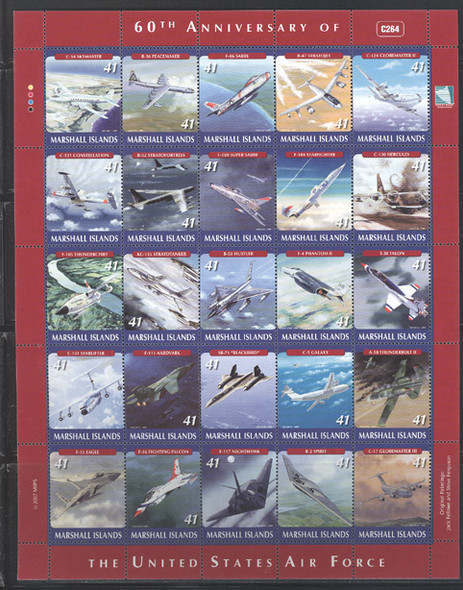 MARSHALL ISLANDS- Air Force Sheet of 25