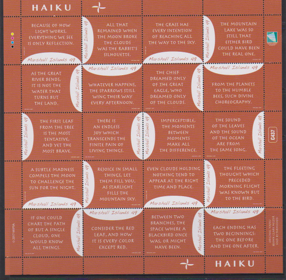 MARSHALL ISLANDS- Haiku II 2017- Sheet of 20