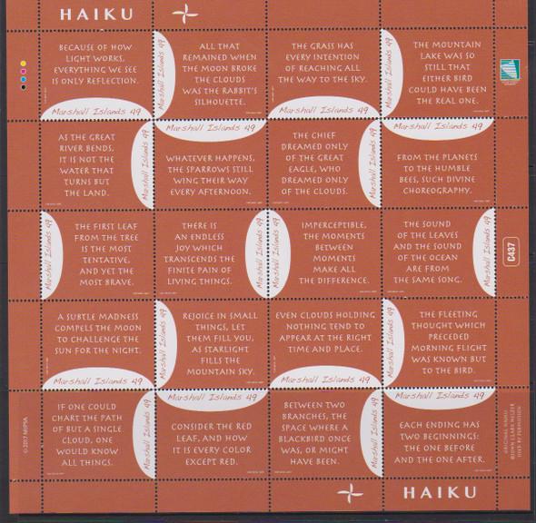MARSHALL ISLANDS- Haiku II 2017- Sheet of 20