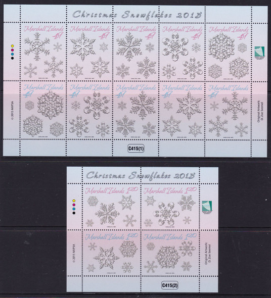 MARSHALL ISLANDS: Christmas 2015 Snowflakes- Sheets of 10 and 4 (2)