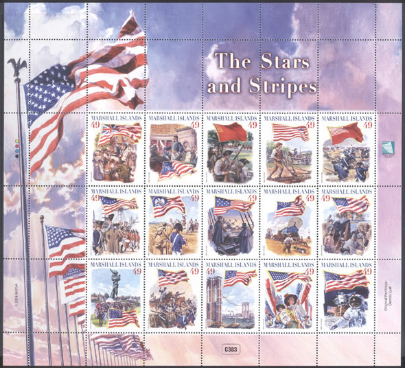 MARSHALL ISLANDS: Stars and Stripes 2014- Sheet of 15